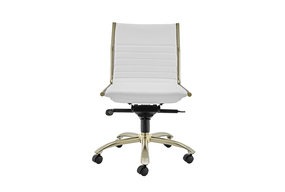 Copenhagen White Vegan Leather And Gold Low Back Armless Desk Chair
