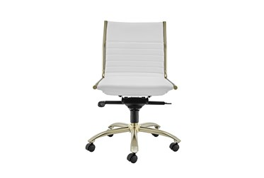 Copenhagen White Faux Leather And Gold Low Back Armless Desk Chair