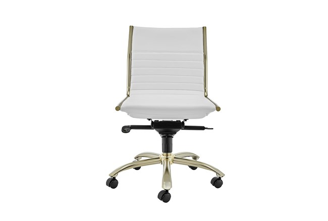 Copenhagen White Vegan Leather And Gold Low Back Armless Desk Chair - 360