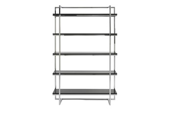 Carlsbad Black And Chrome 62 Inch Bookcase