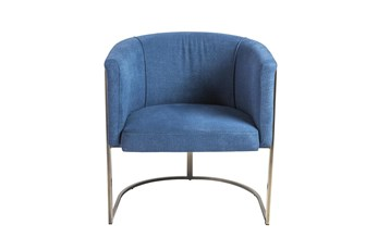 Blue And Brass Barrel Back Accent Chair