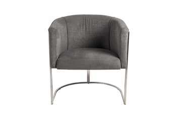 Grey And Stainless Steel Barrel Back Accent Chair
