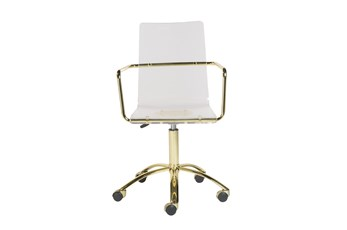 Clear Acrlyic And Gold Desk Chair