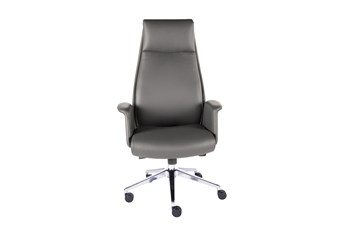 Skive Grey Vegan Leather High Back Desk Chair