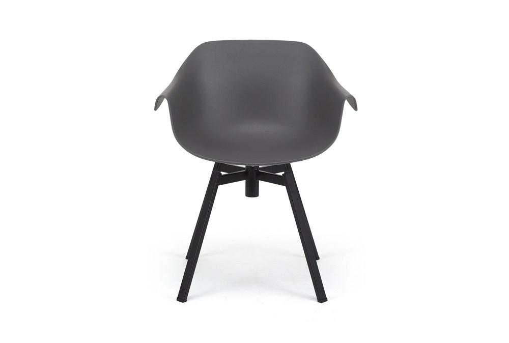 Grey Molded Bucket Seat Swivel Arm Chair