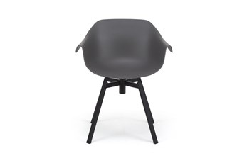 Grey Molded Bucket Seat Swivel Arm Chair