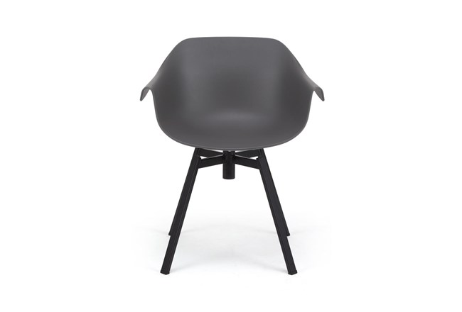 Grey Molded Bucket Seat Swivel Arm Chair - 360