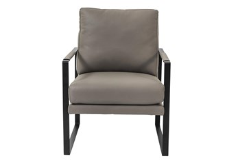 San Marcos Grey Leather Accent Chair