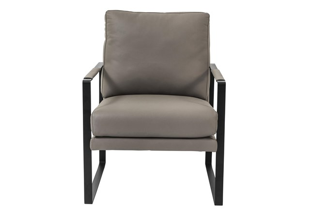 San Marcos Grey Leather Accent Chair - 360