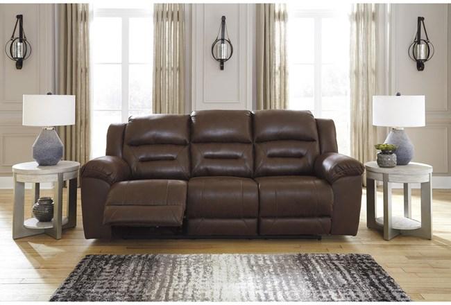 "Stoneland Chocolate 93"" Reclining Sofa - 360"
