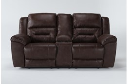 "Stoneland Chocolate 82"" Reclining Loveseat With Console"
