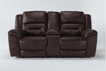 """Stoneland Chocolate 82"""" Reclining Loveseat With Console"""