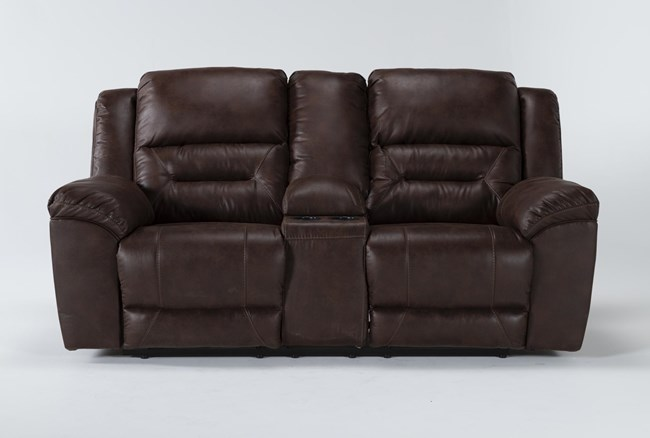 """Stoneland Chocolate 82"""" Reclining Loveseat With Console - 360"""