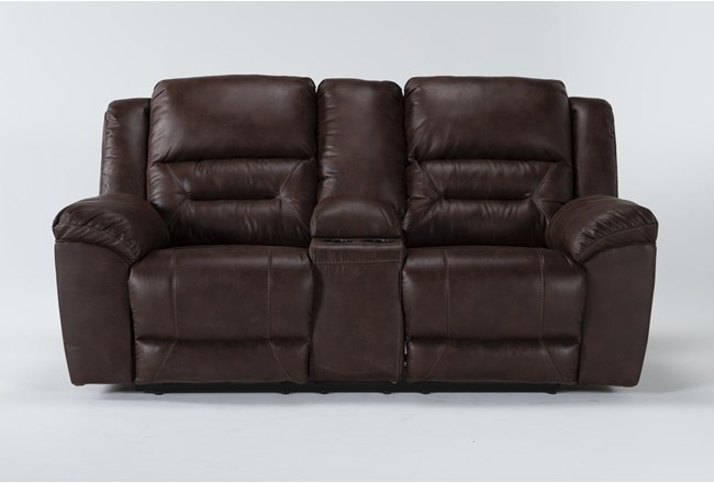"Stoneland Chocolate 82"" Reclining Loveseat With Console - 360"