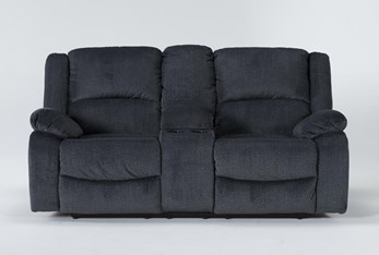 """Oakhurst Slate 76"""" Reclining Loveseat With Console"""