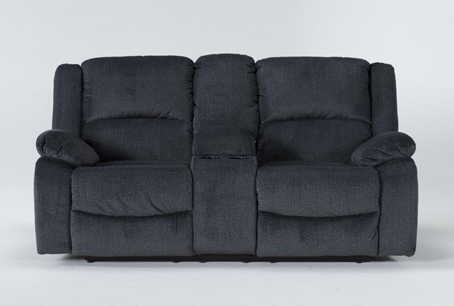 """Oakhurst Slate 76"""" Reclining Loveseat With Console - 360"""