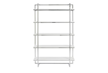 Carlsbad White And Chrome 62 Inch Bookcase