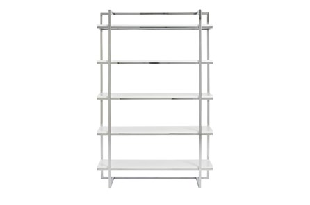 Carlsbad White And Chrome 62 Inch Bookcase - Main