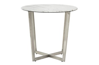 Liv White Faux Marble 24 Inch Round Side Table With Stainless Steel Base