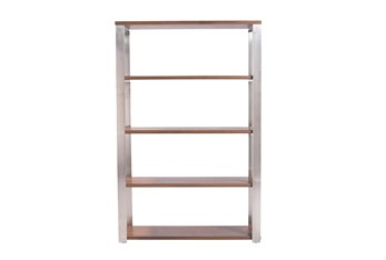Del Mar Walnut And Brushed Stainless Steel 61 Inch Bookcase