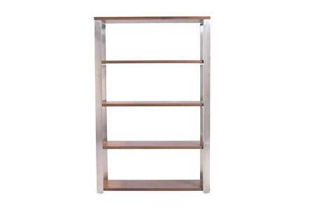 Del Mar Walnut And Brushed Stainless Steel 61 Inch Bookcase - Main