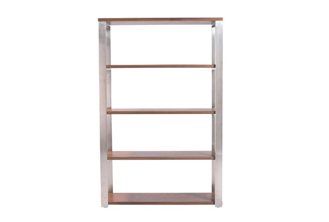 Del Mar Walnut And Brushed Stainless Steel 61 Inch Bookcase - 360