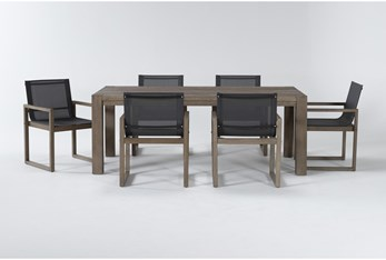 Malaga Outdoor 7 Piece Dining Set With Sling Back Chairs