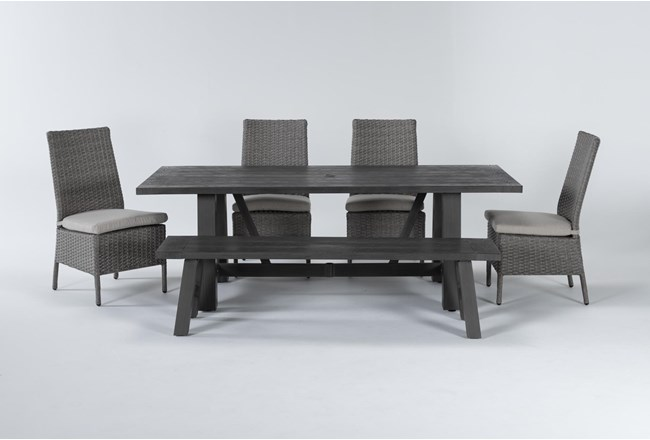 Panama Outdoor 6 Piece Rectangle Dining Set With Mojave Chairs - 360