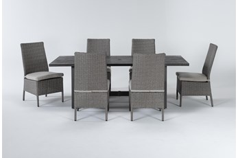 Panama Outdoor 7 Piece Rectangle Dining Set With Mojave Chairs
