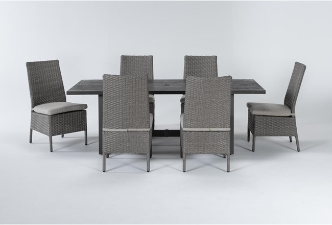 Panama Outdoor 7 Piece Rectangle Dining Set With Mojave Chairs - 360