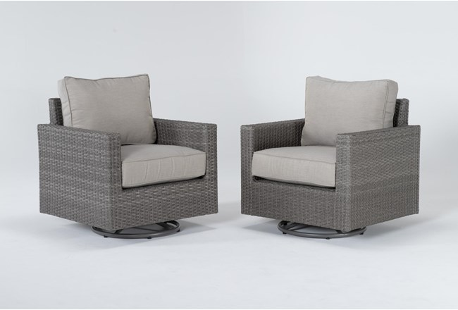 Mojave Outdoor 2 Piece Swivel Lounge Chair Set - 360