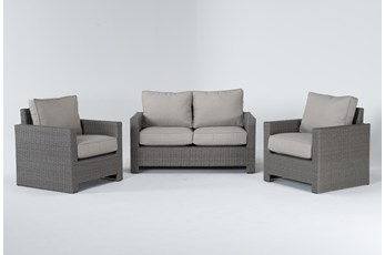 Mojave Outdoor Loveseat With 2 Lounge Chairs