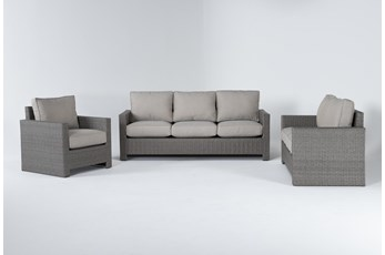 Mojave Outdoor 3 Piece Lounge Set With Lounge Chair