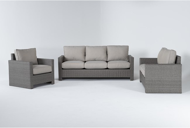 Mojave Outdoor 3 Piece Lounge Set With Lounge Chair - 360