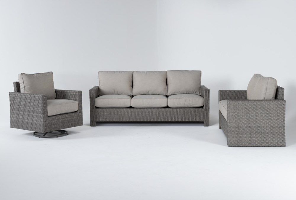 Mojave Outdoor 3 Piece Lounge Set With Swivel Lounge Chair