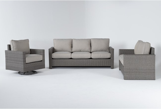 Mojave Outdoor 3 Piece Lounge Set With Swivel Lounge Chair - 360