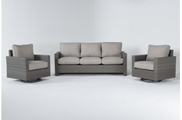 Mojave Outdoor Sofa With 2 Swivel Lounge Chairs