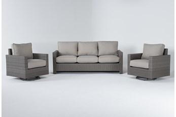 Mojave Outdoor Sofa With 2 Swivel Lounge Chairs