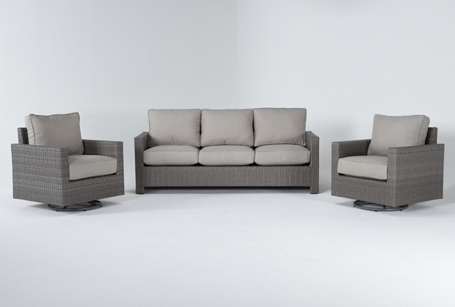 Mojave Outdoor Sofa With 2 Swivel Lounge Chairs - 360