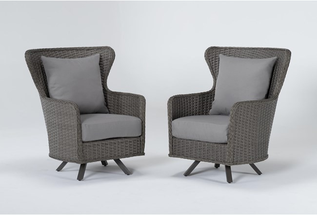 Sanibel Outdoor 2 Piece Swivel Wing Back Chair Set - 360