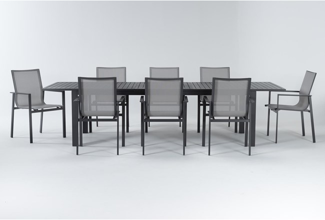 Ravelo Outdoor 9 Piece Extension Dining Set With Sling Back Chairs - 360