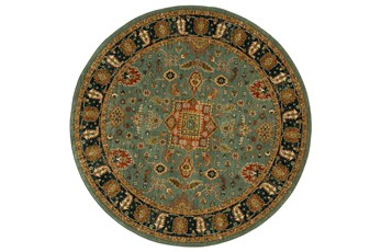 8' Round Rug-Blooming Abstract Aquamarine