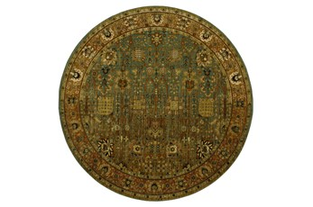 96 Inch Round Rug-Traditional Border Rust