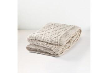 Accent Throw-Beige Knitted Design