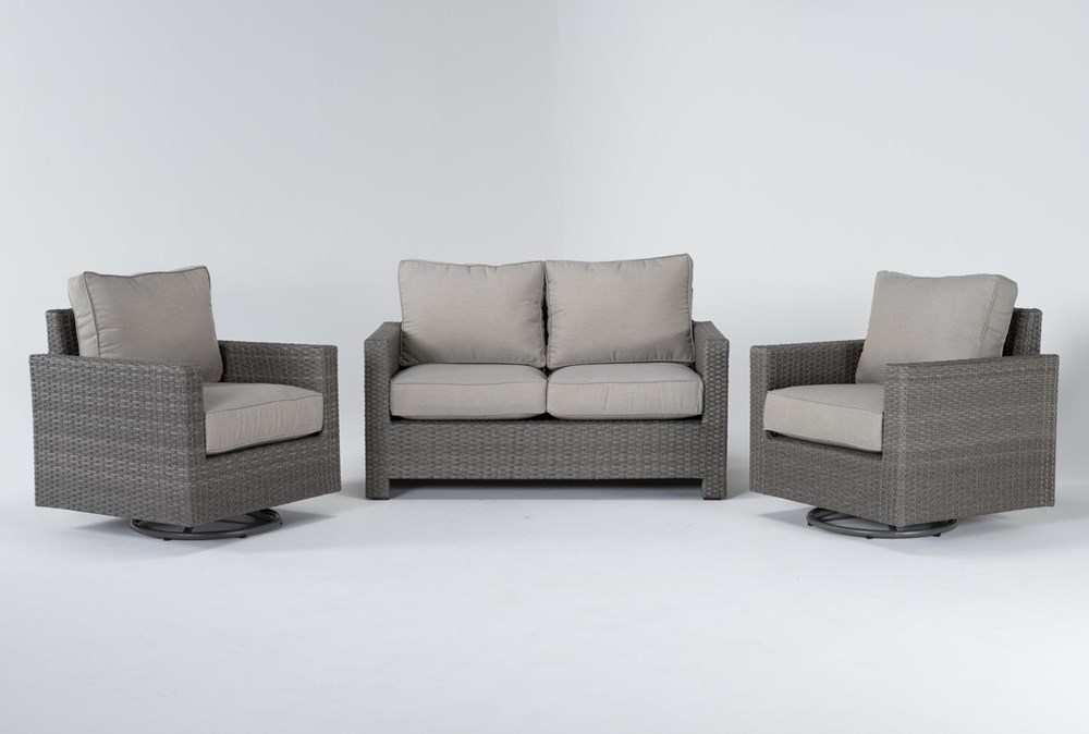 Mojave Outdoor Loveseat With 2 Swivel Lounge Chairs