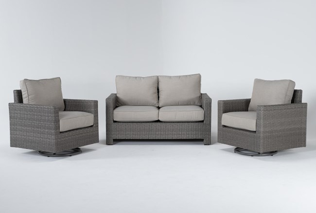 Mojave Outdoor Loveseat With 2 Swivel Lounge Chairs - 360