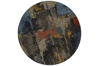 96 Inch Round Rug-Celestial Abstract Multi