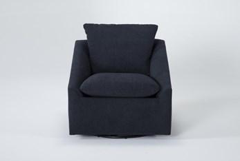 Cypress II Foam Navy Swivel Accent Chair