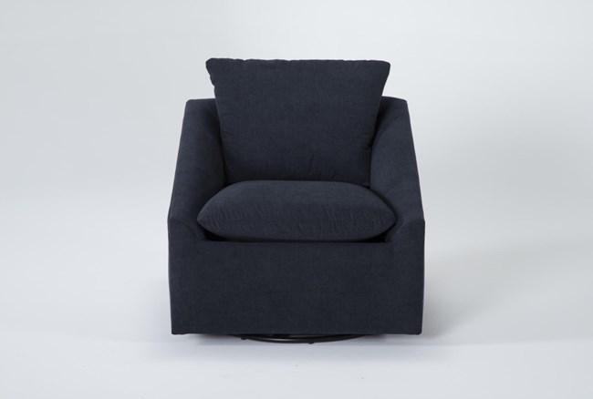 Cypress II Foam Navy Swivel Accent Chair - 360