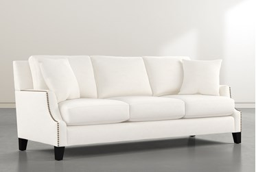 "Kayla II White 88"" Nailhead Sofa"